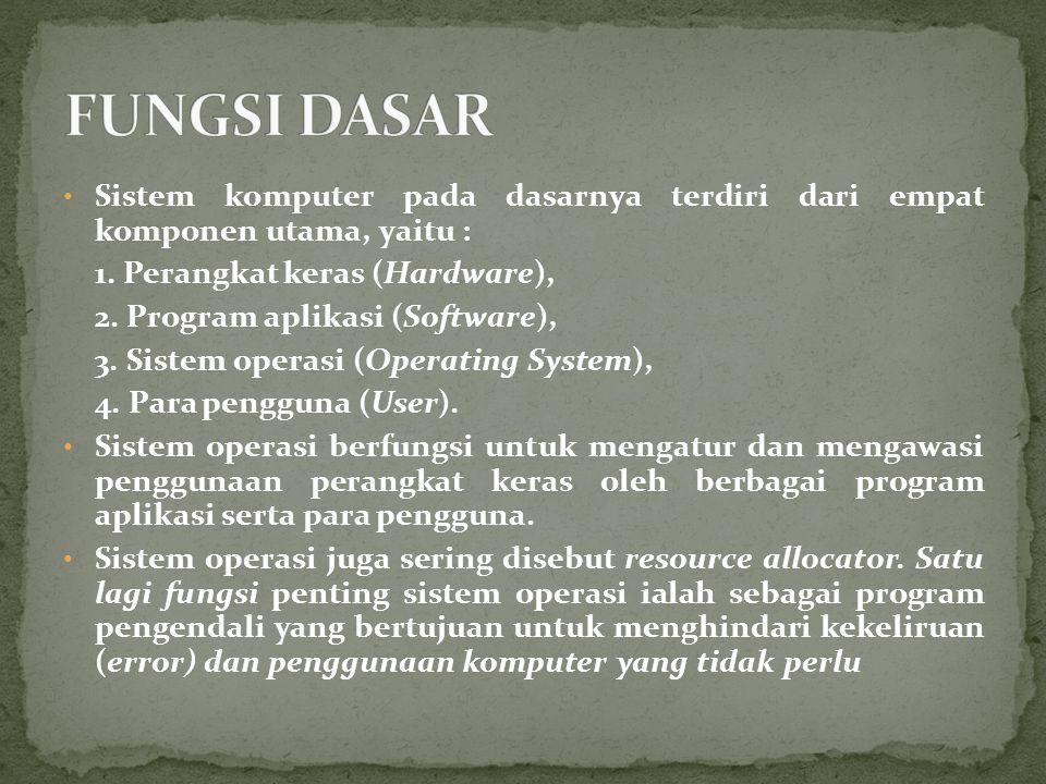 Sistem komputer pada dasarnya terdiri dari empat komponen utama, yaitu : 1. Perangkat keras (Hardware), 2. Program aplikasi (Software), 3. Sistem oper