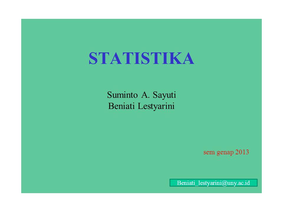 STATISTIKA Suminto A. Sayuti Beniati Lestyarini sem genap 2013 Beniati_lestyarini@uny.ac.id
