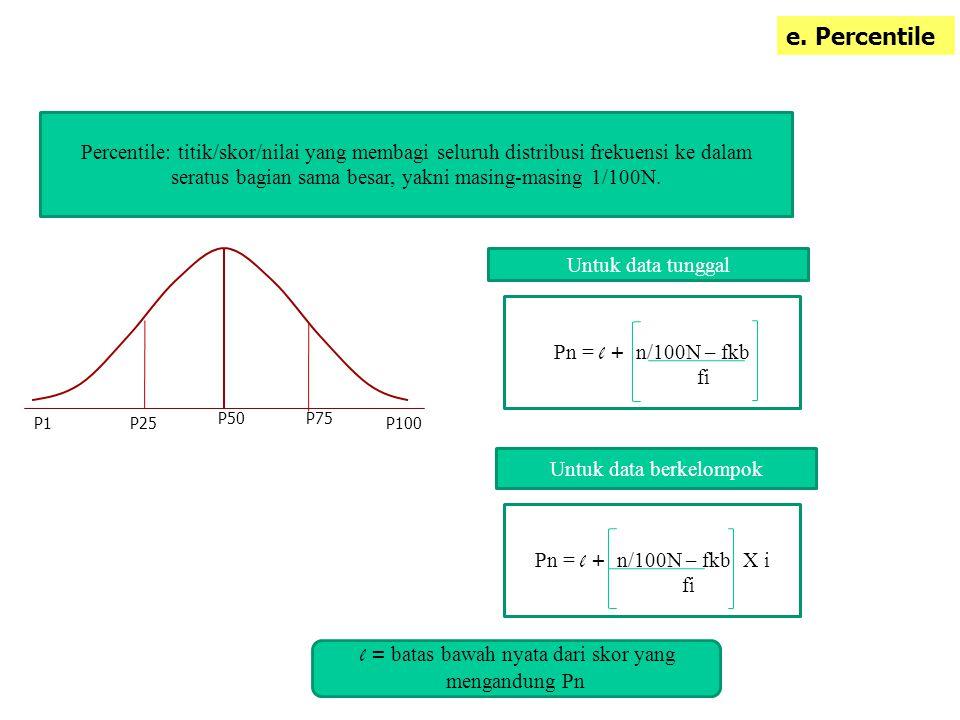 e. Percentile Percentile: titik/skor/nilai yang membagi seluruh distribusi frekuensi ke dalam seratus bagian sama besar, yakni masing-masing 1/100N. P