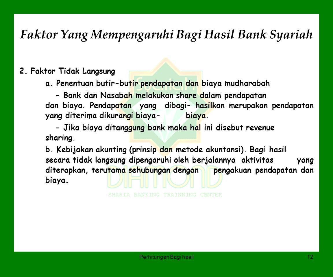 Perhitungan Bagi hasil12 Faktor Yang Mempengaruhi Bagi Hasil Bank Syariah 2. Faktor Tidak Langsung a. Penentuan butir-butir pendapatan dan biaya mudha