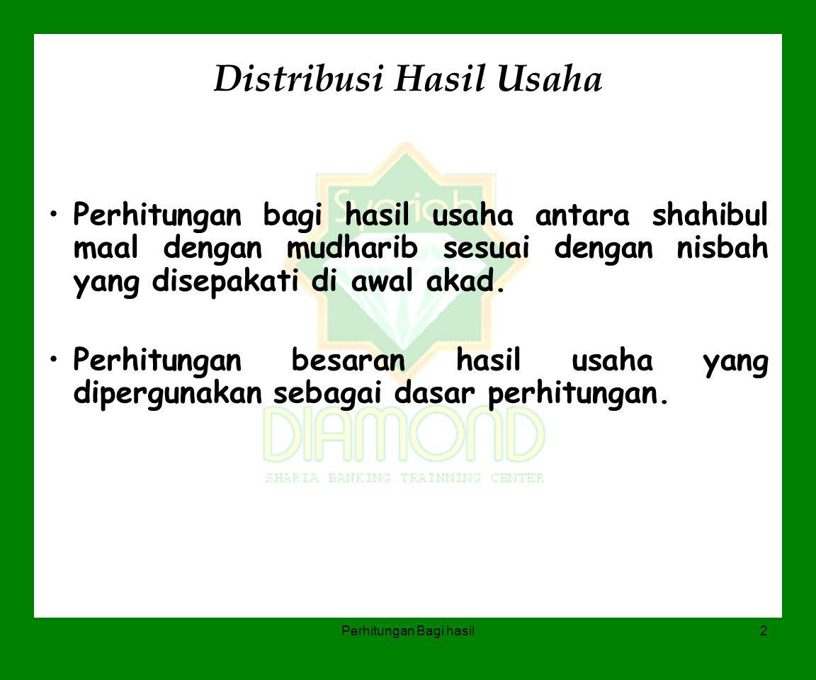 Perhitungan Bagi hasil2 Distribusi Hasil Usaha Perhitungan bagi hasil usaha antara shahibul maal dengan mudharib sesuai dengan nisbah yang disepakati