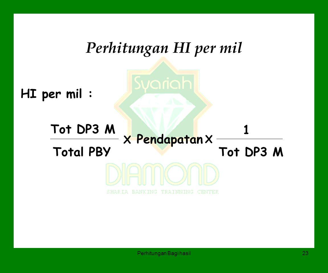 Perhitungan Bagi hasil23 Perhitungan HI per mil HI per mil : Tot DP3 M Total PBY X Pendapatan X 1 Tot DP3 M