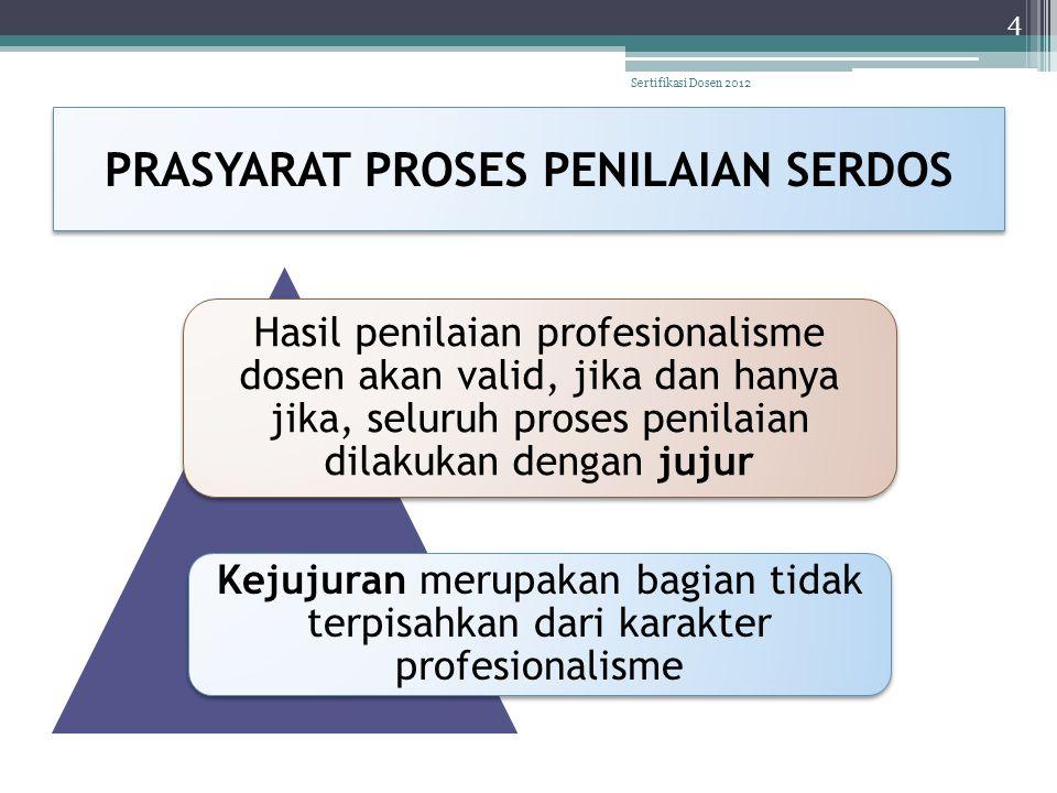 PRASYARAT PROSES PENILAIAN SERDOS Hasil penilaian profesionalisme dosen akan valid, jika dan hanya jika, seluruh proses penilaian dilakukan dengan juj