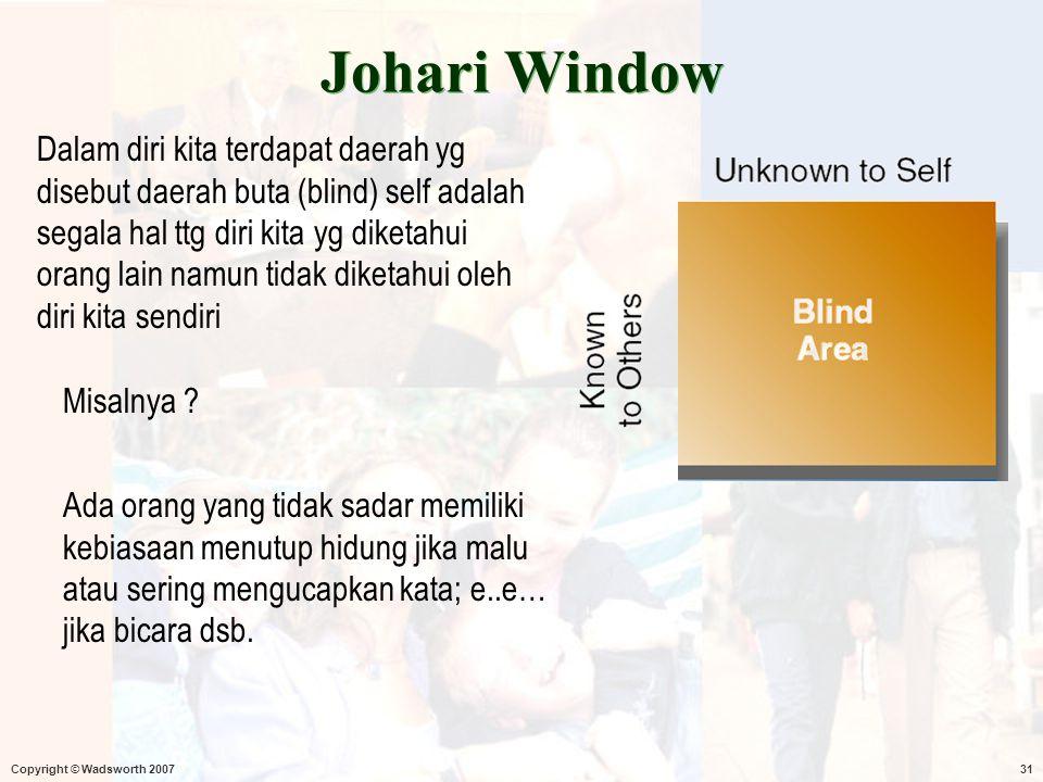 Copyright © Wadsworth 200731 Johari Window Dalam diri kita terdapat daerah yg disebut daerah buta (blind) self adalah segala hal ttg diri kita yg dike