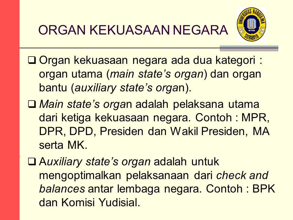 ORGAN KEKUASAAN NEGARA  Organ kekuasaan negara ada dua kategori : organ utama (main state's organ) dan organ bantu (auxiliary state's organ).  Main