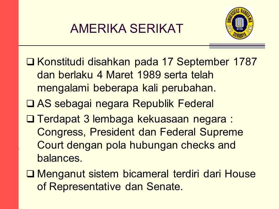 AMERIKA SERIKAT  Konstitudi disahkan pada 17 September 1787 dan berlaku 4 Maret 1989 serta telah mengalami beberapa kali perubahan.  AS sebagai nega