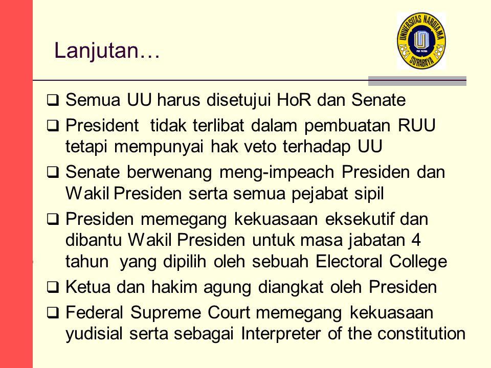 Lanjutan…  Semua UU harus disetujui HoR dan Senate  President tidak terlibat dalam pembuatan RUU tetapi mempunyai hak veto terhadap UU  Senate berw