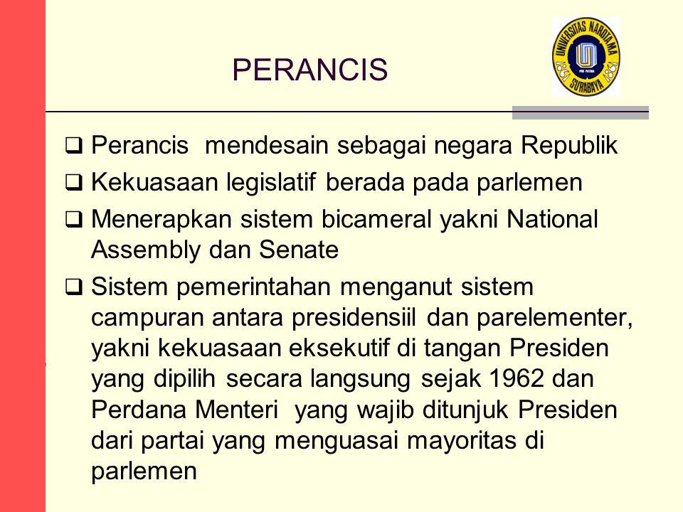 PERANCIS  Perancis mendesain sebagai negara Republik  Kekuasaan legislatif berada pada parlemen  Menerapkan sistem bicameral yakni National Assembl