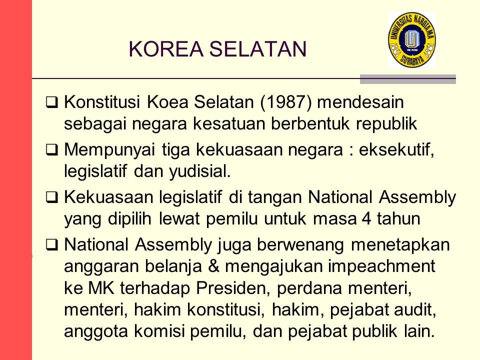 KOREA SELATAN  Konstitusi Koea Selatan (1987) mendesain sebagai negara kesatuan berbentuk republik  Mempunyai tiga kekuasaan negara : eksekutif, leg