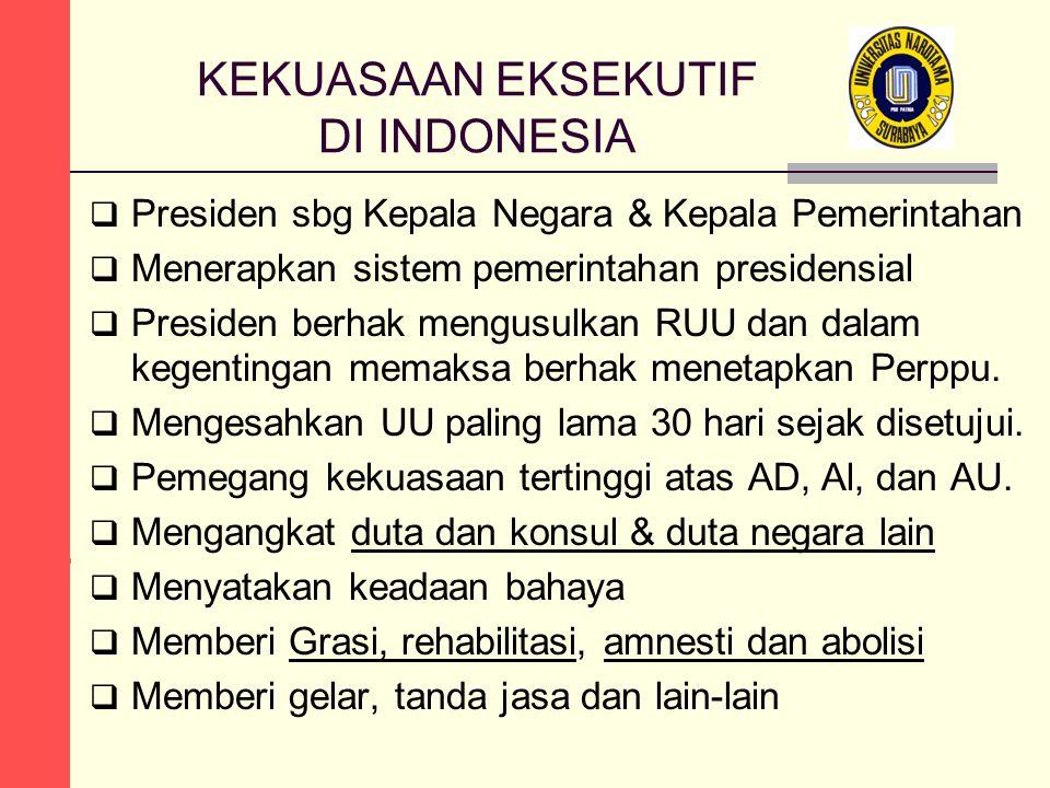 KEKUASAAN EKSEKUTIF DI INDONESIA  Presiden sbg Kepala Negara & Kepala Pemerintahan  Menerapkan sistem pemerintahan presidensial  Presiden berhak me