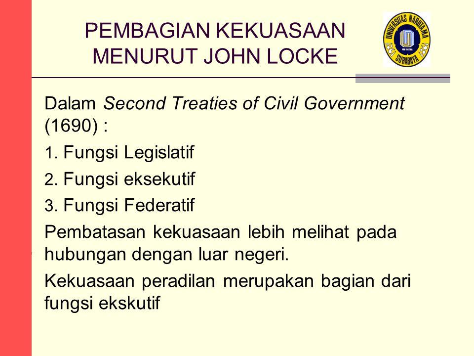 PEMBAGIAN KEKUASAAN MENURUT JOHN LOCKE Dalam Second Treaties of Civil Government (1690) : 1. Fungsi Legislatif 2. Fungsi eksekutif 3. Fungsi Federatif
