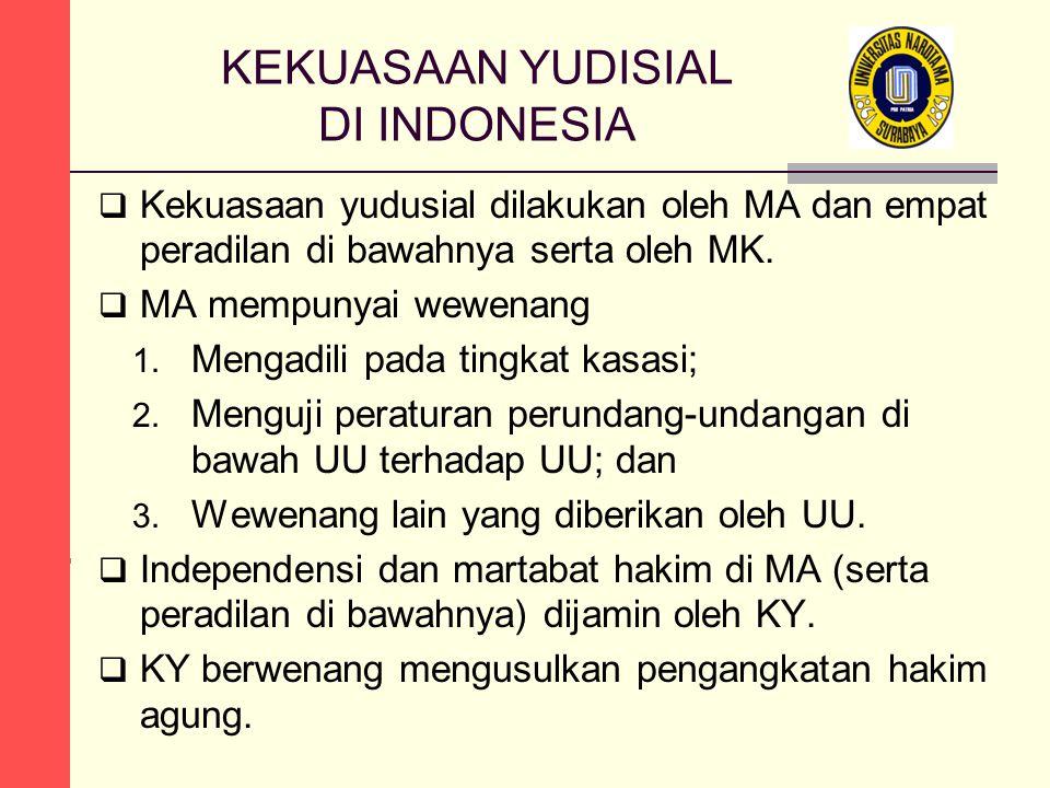  Kekuasaan yudusial dilakukan oleh MA dan empat peradilan di bawahnya serta oleh MK.  MA mempunyai wewenang 1. Mengadili pada tingkat kasasi; 2. Men