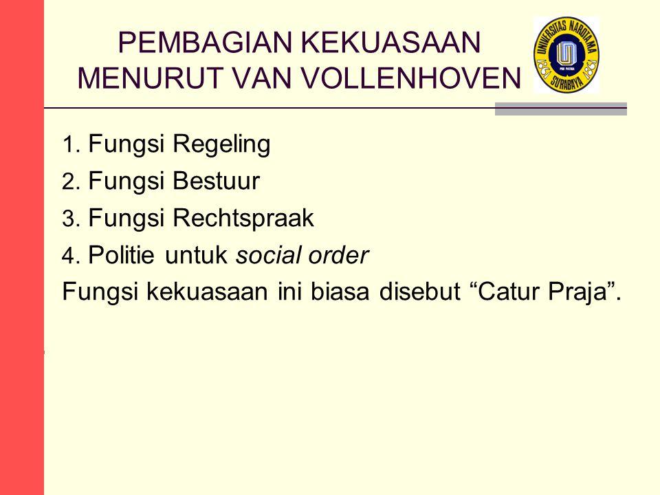 PEMBAGIAN KEKUASAAN MENURUT VAN VOLLENHOVEN 1. Fungsi Regeling 2. Fungsi Bestuur 3. Fungsi Rechtspraak 4. Politie untuk social order Fungsi kekuasaan