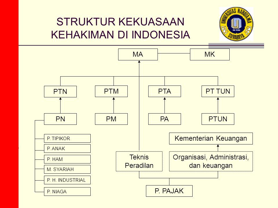 STRUKTUR KEKUASAAN KEHAKIMAN DI INDONESIA PTN MAMK PTAPTMPT TUN PNPMPAPTUN P. TIPIKOR P. ANAK P. HAM M. SYARIAH P. PAJAK Teknis Peradilan Organisasi,