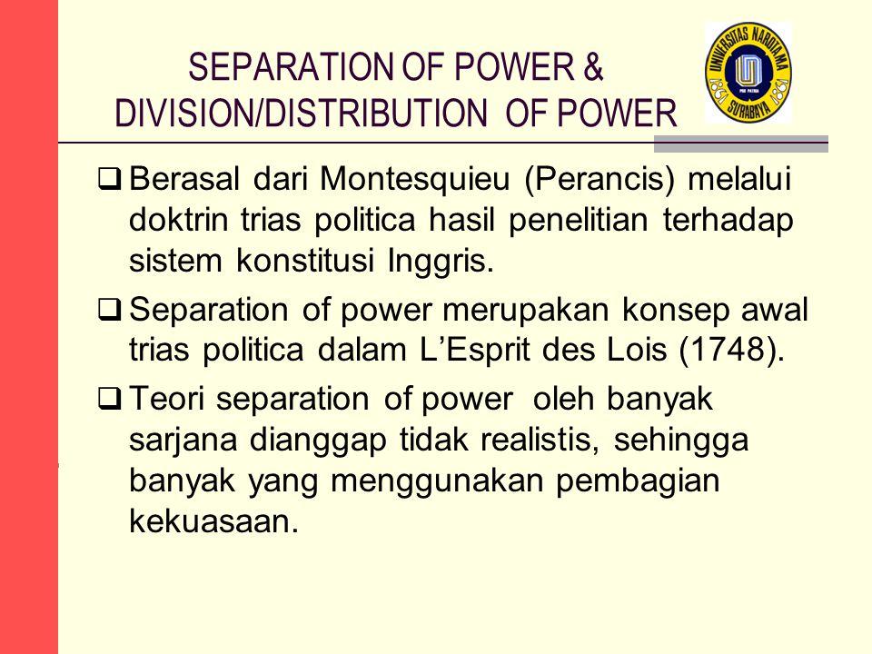 SEPARATION OF POWER & DIVISION/DISTRIBUTION OF POWER  Berasal dari Montesquieu (Perancis) melalui doktrin trias politica hasil penelitian terhadap si