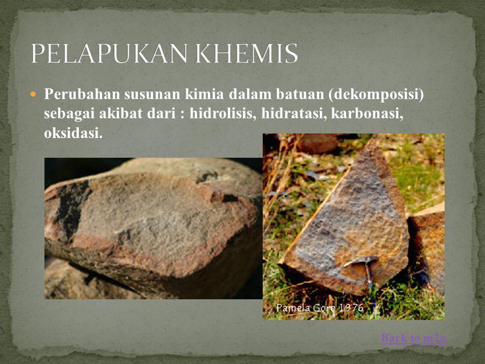 Perubahan susunan kimia dalam batuan (dekomposisi) sebagai akibat dari : hidrolisis, hidratasi, karbonasi, oksidasi. Back to m2p