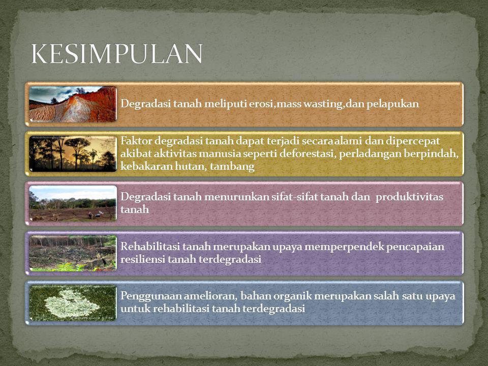 Degradasi tanah meliputi erosi,mass wasting,dan pelapukan Faktor degradasi tanah dapat terjadi secara alami dan dipercepat akibat aktivitas manusia se