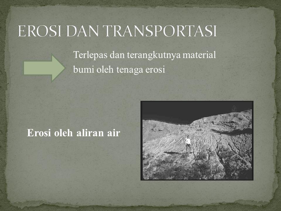 Terlepas dan terangkutnya material bumi oleh tenaga erosi Erosi oleh aliran air