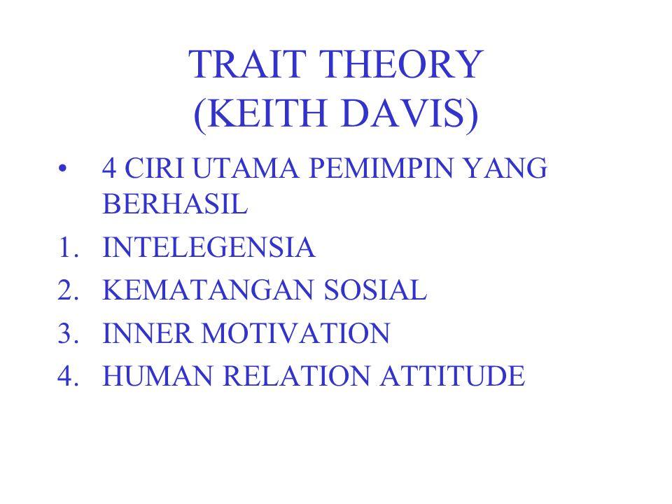 TRAIT THEORY (KEITH DAVIS) 4 CIRI UTAMA PEMIMPIN YANG BERHASIL 1.INTELEGENSIA 2.KEMATANGAN SOSIAL 3.INNER MOTIVATION 4.HUMAN RELATION ATTITUDE