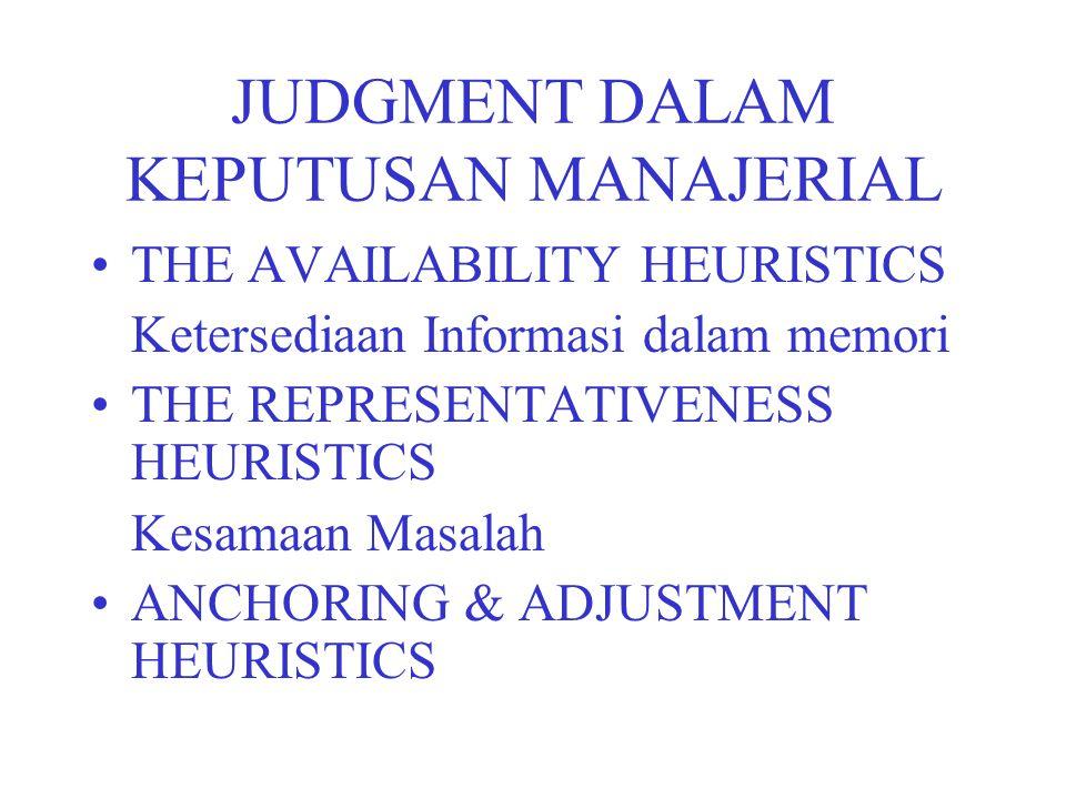 JUDGMENT DALAM KEPUTUSAN MANAJERIAL THE AVAILABILITY HEURISTICS Ketersediaan Informasi dalam memori THE REPRESENTATIVENESS HEURISTICS Kesamaan Masalah