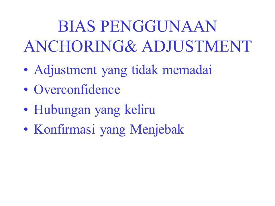 BIAS PENGGUNAAN ANCHORING& ADJUSTMENT Adjustment yang tidak memadai Overconfidence Hubungan yang keliru Konfirmasi yang Menjebak