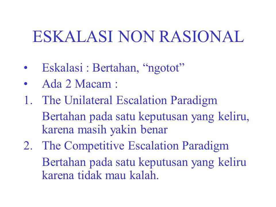 "ESKALASI NON RASIONAL Eskalasi : Bertahan, ""ngotot"" Ada 2 Macam : 1.The Unilateral Escalation Paradigm Bertahan pada satu keputusan yang keliru, karen"