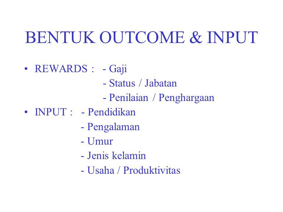 BENTUK OUTCOME & INPUT REWARDS : - Gaji - Status / Jabatan - Penilaian / Penghargaan INPUT : - Pendidikan - Pengalaman - Umur - Jenis kelamin - Usaha