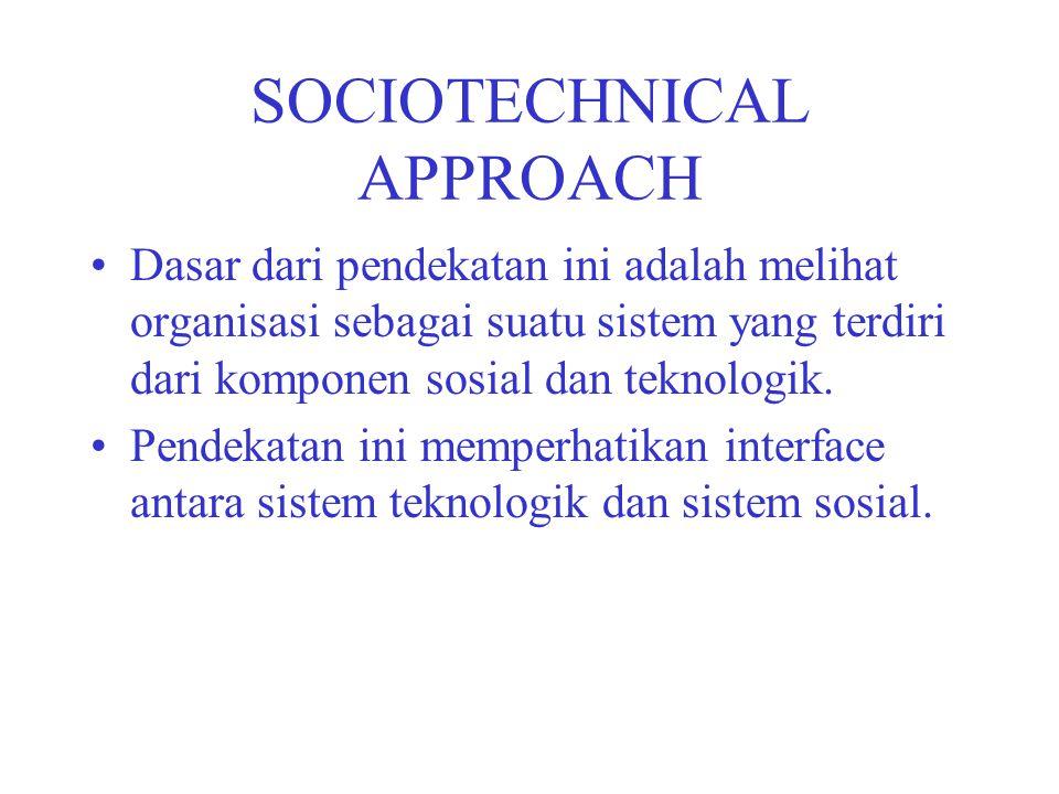 SOCIOTECHNICAL APPROACH Dasar dari pendekatan ini adalah melihat organisasi sebagai suatu sistem yang terdiri dari komponen sosial dan teknologik. Pen