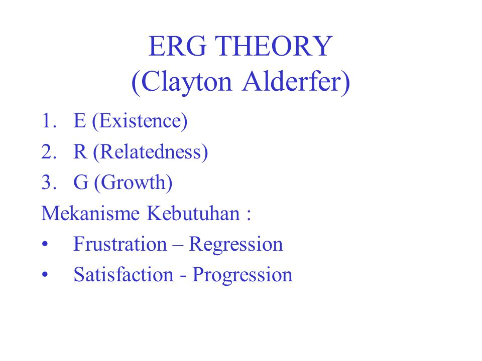 Trichotomy of Needs (David McClelland) 1.Achievement Motive (nAch): Motif untuk berprestasi 2.Affiliation Motive (nAff): Motif untuk bersahabat.