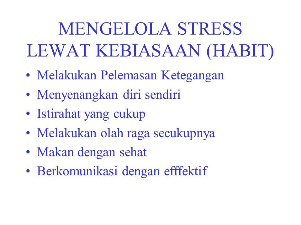 MENGELOLA STRESS LEWAT KEBIASAAN (HABIT) Melakukan Pelemasan Ketegangan Menyenangkan diri sendiri Istirahat yang cukup Melakukan olah raga secukupnya Makan dengan sehat Berkomunikasi dengan efffektif