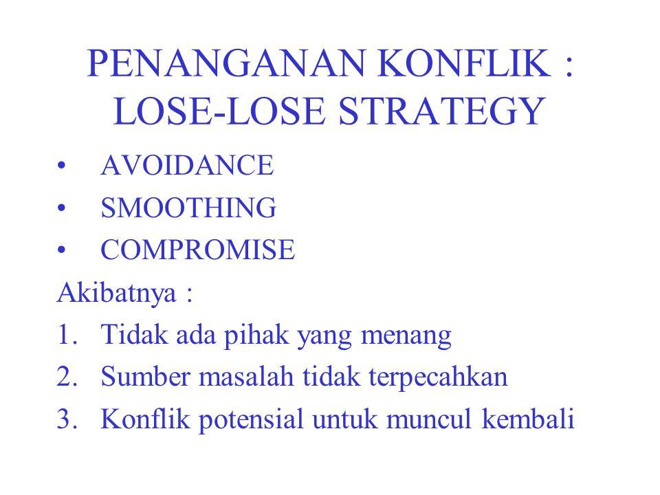 PENANGANAN KONFLIK : LOSE-LOSE STRATEGY AVOIDANCE SMOOTHING COMPROMISE Akibatnya : 1.Tidak ada pihak yang menang 2.Sumber masalah tidak terpecahkan 3.Konflik potensial untuk muncul kembali