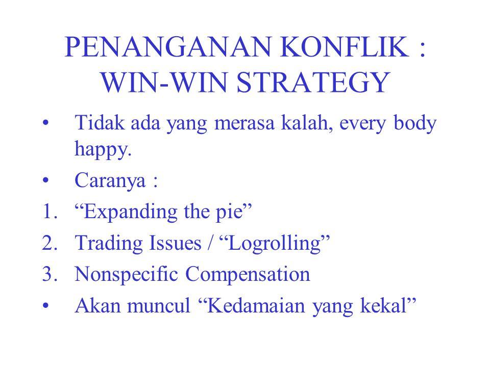 "PENANGANAN KONFLIK : WIN-WIN STRATEGY Tidak ada yang merasa kalah, every body happy. Caranya : 1.""Expanding the pie"" 2.Trading Issues / ""Logrolling"" 3"