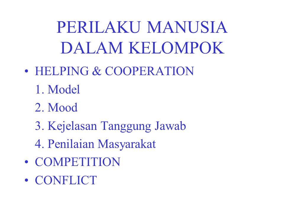 PERILAKU MANUSIA DALAM KELOMPOK HELPING & COOPERATION 1.