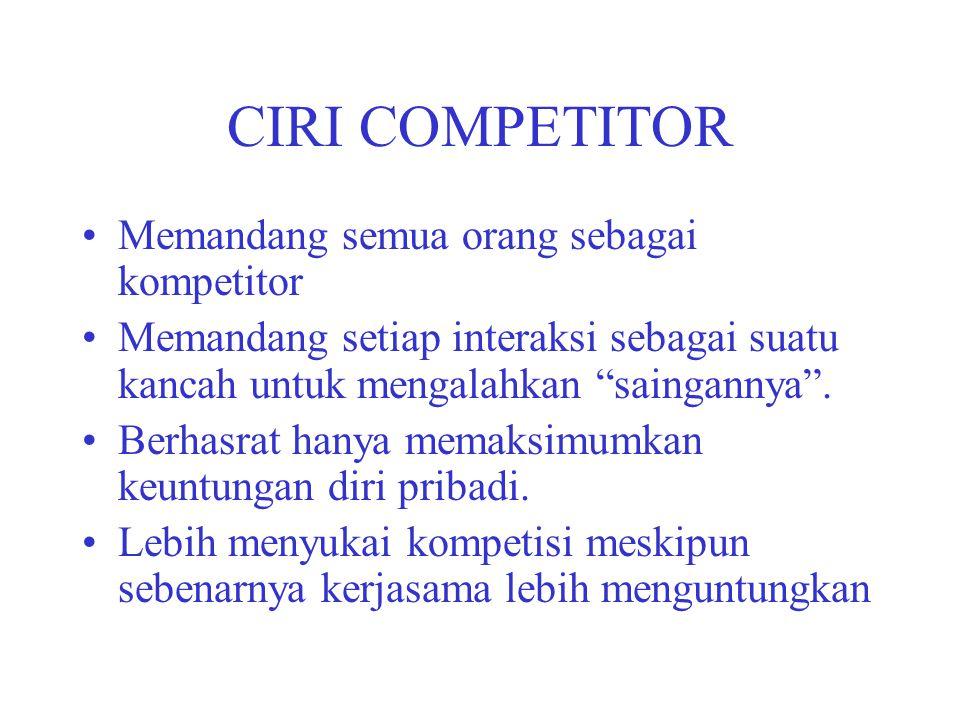 """CIRI COMPETITOR Memandang semua orang sebagai kompetitor Memandang setiap interaksi sebagai suatu kancah untuk mengalahkan """"saingannya"""". Berhasrat han"""