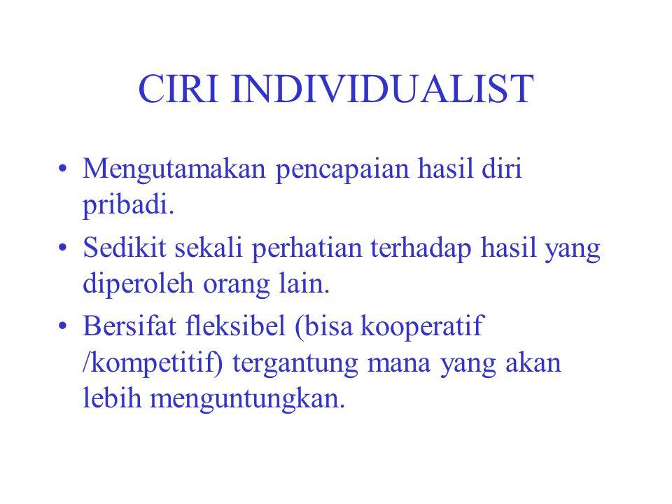 CIRI INDIVIDUALIST Mengutamakan pencapaian hasil diri pribadi. Sedikit sekali perhatian terhadap hasil yang diperoleh orang lain. Bersifat fleksibel (
