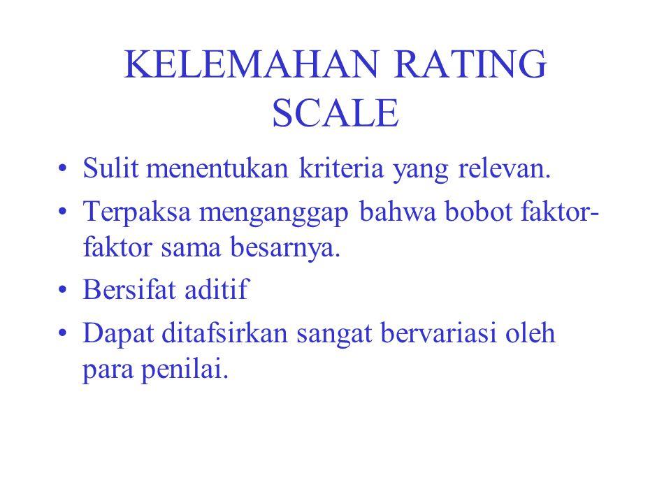 KELEMAHAN RATING SCALE Sulit menentukan kriteria yang relevan. Terpaksa menganggap bahwa bobot faktor- faktor sama besarnya. Bersifat aditif Dapat dit