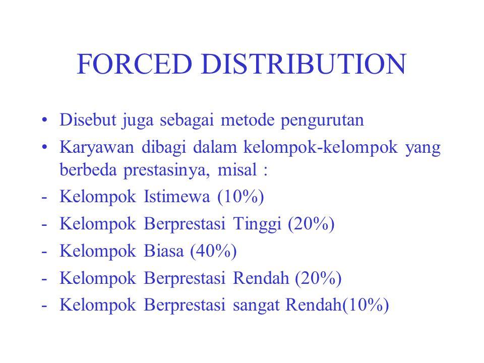 FORCED DISTRIBUTION Disebut juga sebagai metode pengurutan Karyawan dibagi dalam kelompok-kelompok yang berbeda prestasinya, misal : -Kelompok Istimew