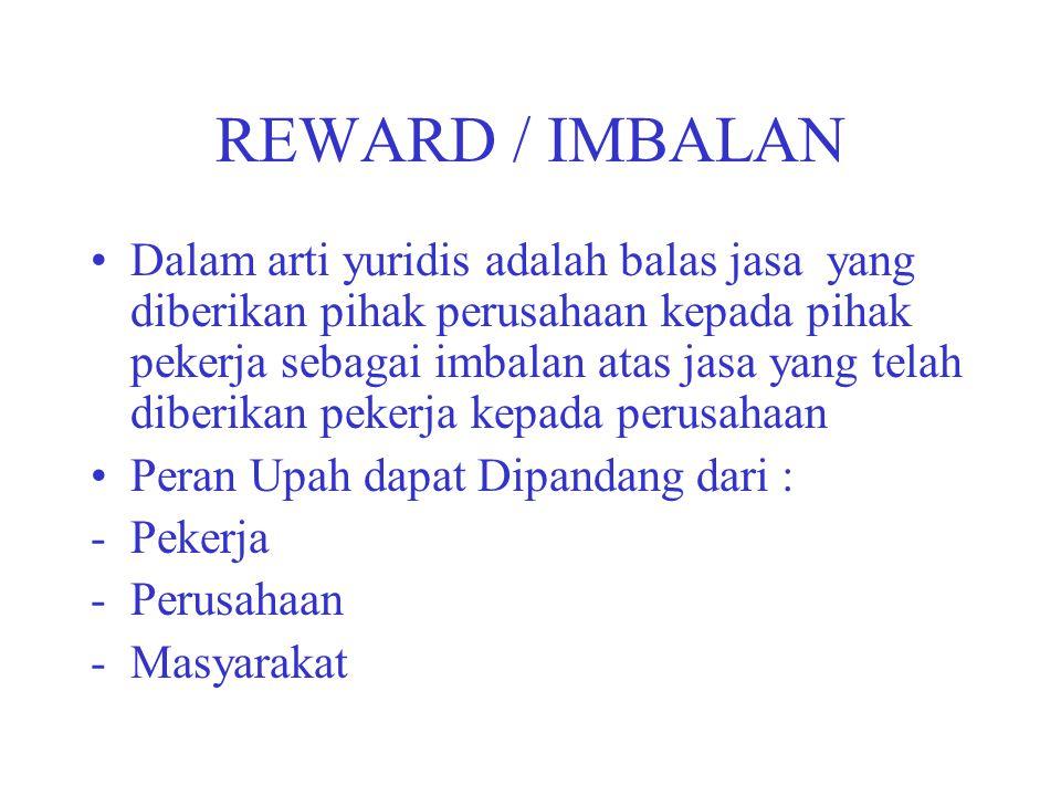REWARD / IMBALAN Dalam arti yuridis adalah balas jasa yang diberikan pihak perusahaan kepada pihak pekerja sebagai imbalan atas jasa yang telah diberi