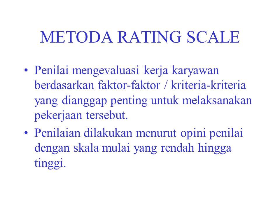 METODA RATING SCALE Penilai mengevaluasi kerja karyawan berdasarkan faktor-faktor / kriteria-kriteria yang dianggap penting untuk melaksanakan pekerja