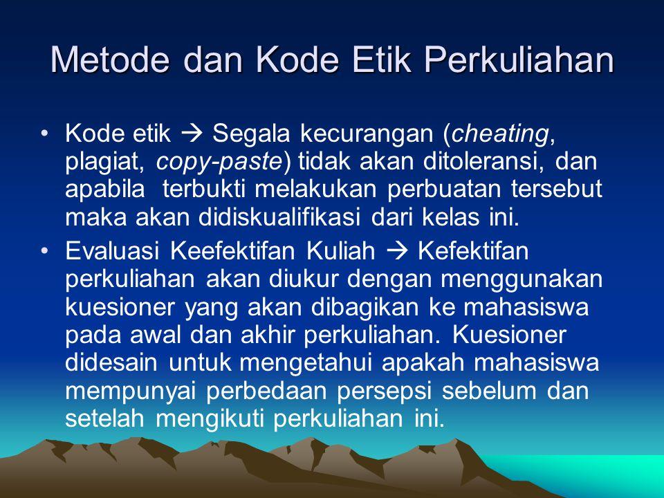 Metode dan Kode Etik Perkuliahan Kode etik  Segala kecurangan (cheating, plagiat, copy-paste) tidak akan ditoleransi, dan apabila terbukti melakukan