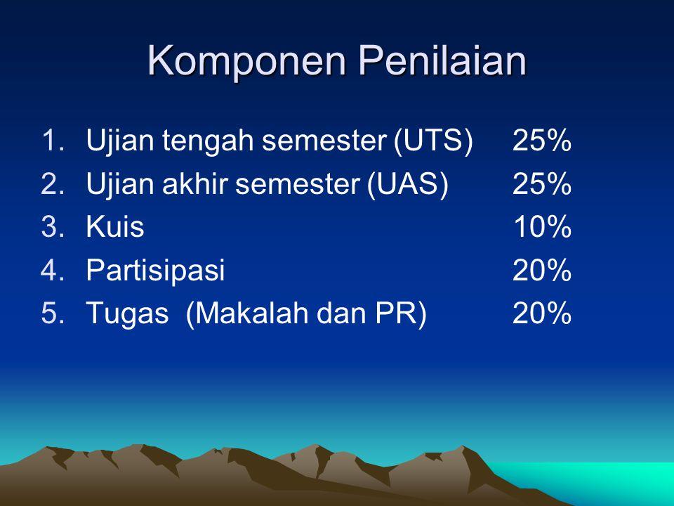 Komponen Penilaian 1.Ujian tengah semester (UTS)25% 2.Ujian akhir semester (UAS)25% 3.Kuis10% 4.Partisipasi20% 5.Tugas (Makalah dan PR) 20%