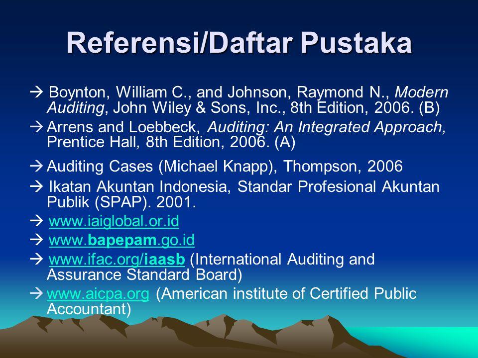 Referensi/Daftar Pustaka  Boynton, William C., and Johnson, Raymond N., Modern Auditing, John Wiley & Sons, Inc., 8th Edition, 2006. (B)  Arrens and