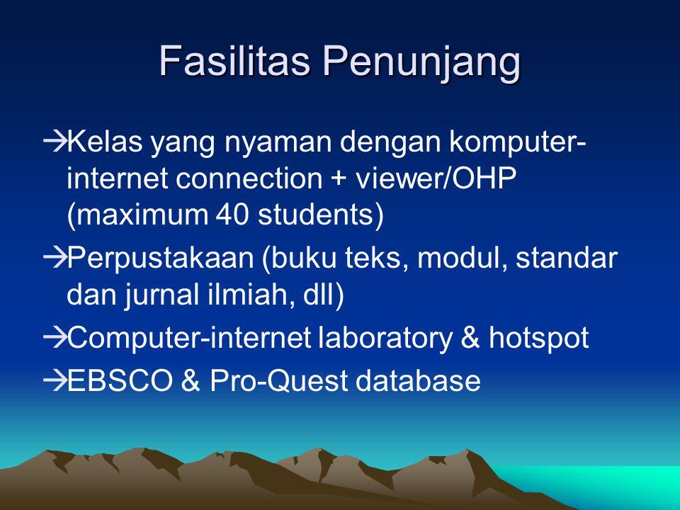 Fasilitas Penunjang  Kelas yang nyaman dengan komputer- internet connection + viewer/OHP (maximum 40 students)  Perpustakaan (buku teks, modul, stan