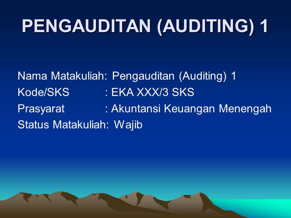 PENGAUDITAN (AUDITING) 1 Nama Matakuliah: Pengauditan (Auditing) 1 Kode/SKS: EKA XXX/3 SKS Prasyarat: Akuntansi Keuangan Menengah Status Matakuliah: W