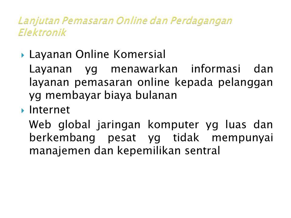  Layanan Online Komersial Layanan yg menawarkan informasi dan layanan pemasaran online kepada pelanggan yg membayar biaya bulanan  Internet Web global jaringan komputer yg luas dan berkembang pesat yg tidak mempunyai manajemen dan kepemilikan sentral