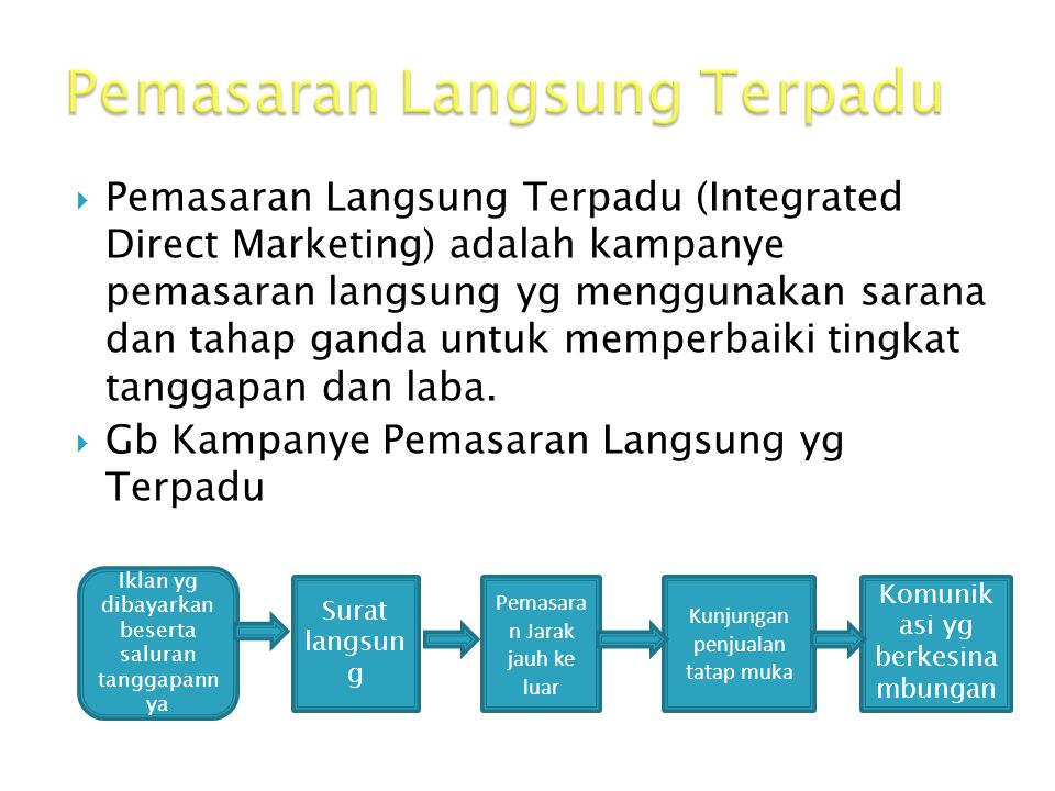  Pemasaran Langsung Terpadu (Integrated Direct Marketing) adalah kampanye pemasaran langsung yg menggunakan sarana dan tahap ganda untuk memperbaiki tingkat tanggapan dan laba.