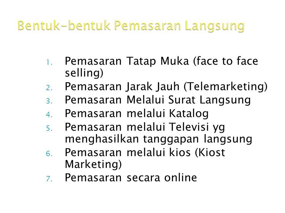 1. Pemasaran Tatap Muka (face to face selling) 2. Pemasaran Jarak Jauh (Telemarketing) 3. Pemasaran Melalui Surat Langsung 4. Pemasaran melalui Katalo