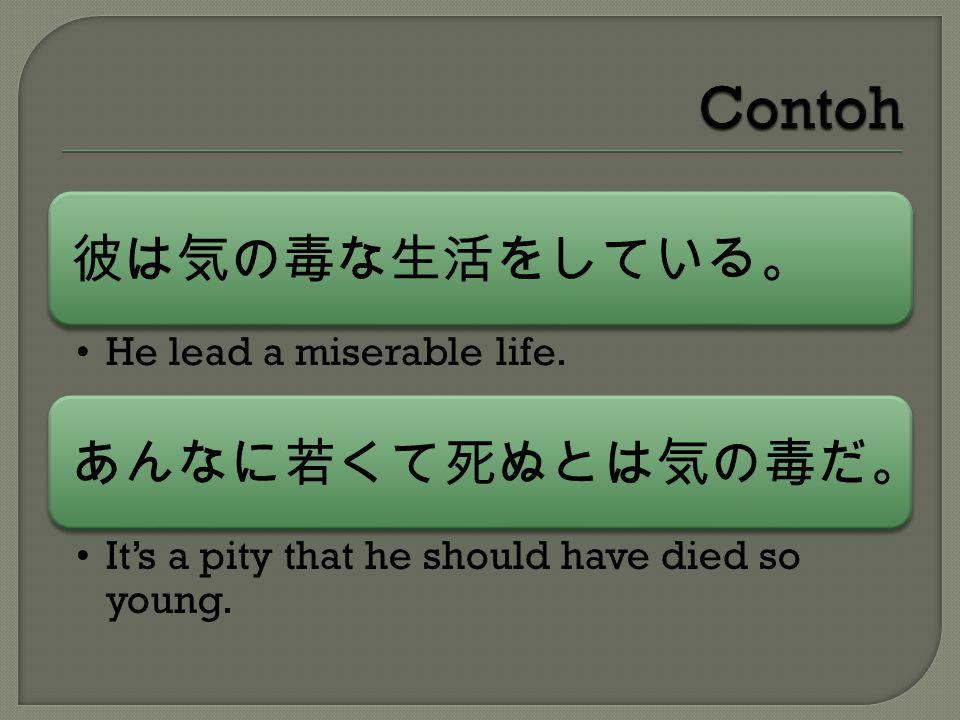 彼は気の毒な生活をしている。 He lead a miserable life.