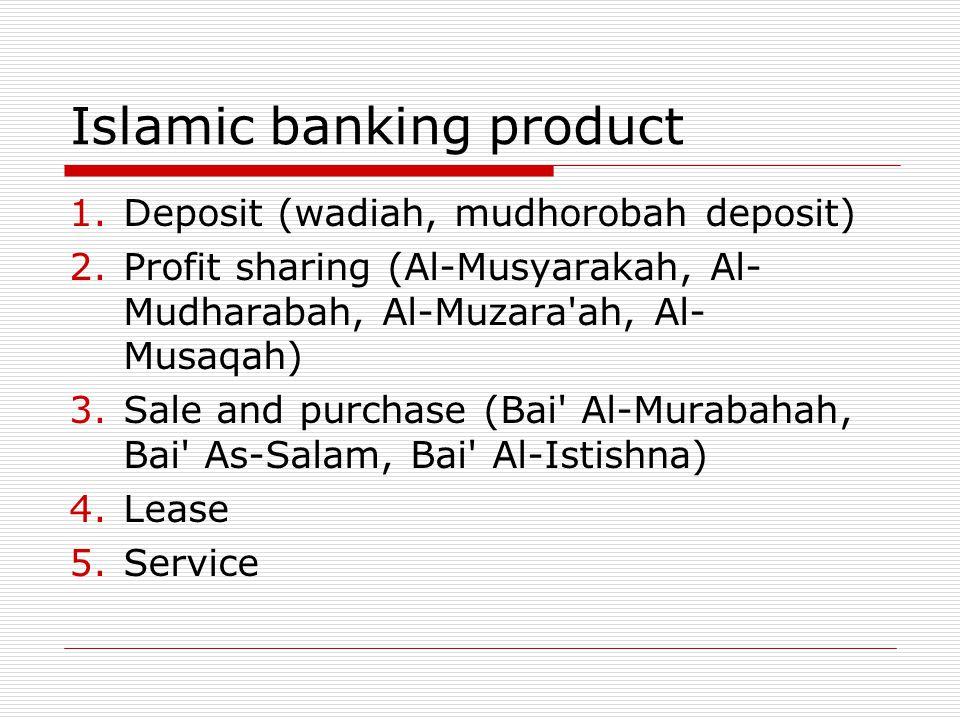 Islamic banking product 1.Deposit (wadiah, mudhorobah deposit) 2.Profit sharing (Al-Musyarakah, Al- Mudharabah, Al-Muzara'ah, Al- Musaqah) 3.Sale and