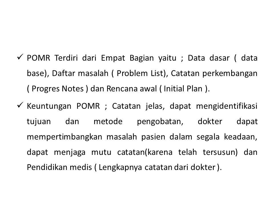 POMR Terdiri dari Empat Bagian yaitu ; Data dasar ( data base), Daftar masalah ( Problem List), Catatan perkembangan ( Progres Notes ) dan Rencana awa